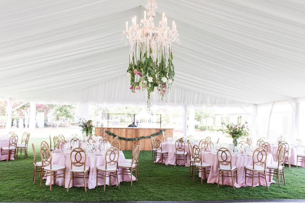 Tented reception for wedding at Henry C. Chambers Waterfront Park  //  Hilton Head florist Urban Poppy  //  A Lowcountry Wedding Magazine