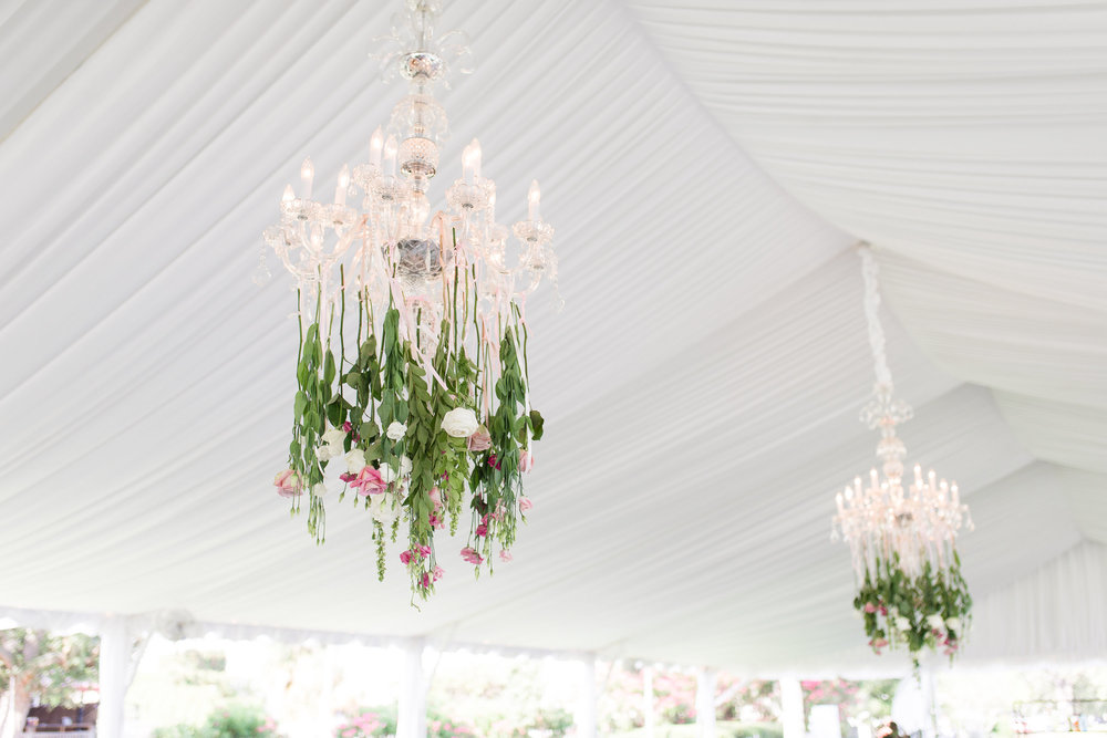 Floral chandeliers for wedding at Beaufort SC