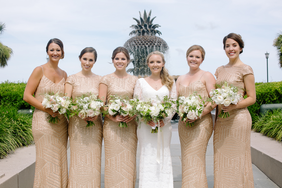 Bridesmaids in long gold dresses for Charleston Sc wedding  //  A Lowcountry Wedding Magazine
