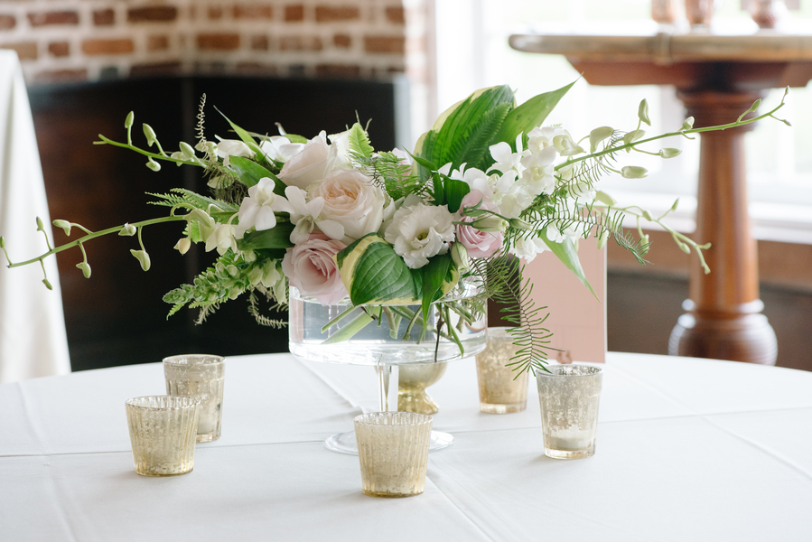 Centerpieces for Charleston wedding at The Historic Rice Mill building  //  A Lowcountry Wedding Magazine