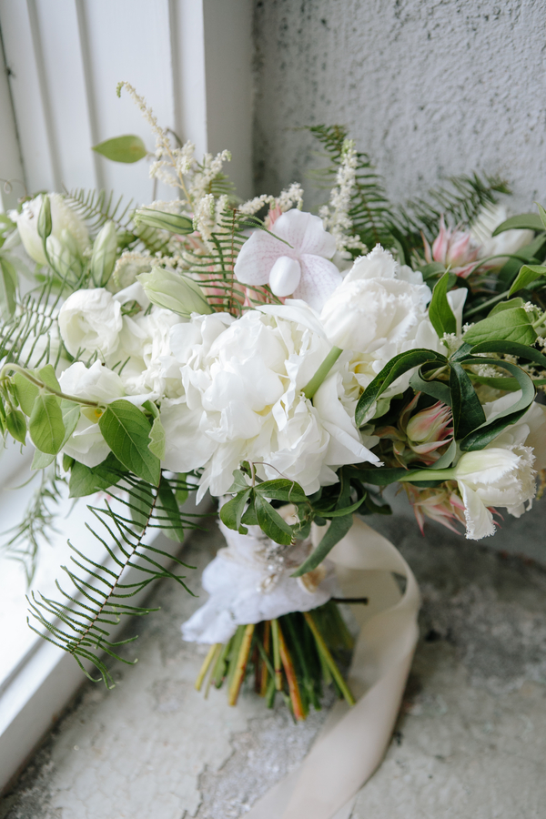 All white bouquet by Branch Design Studio  //  Charleston wedding florist  //  A Lowcountry Wedding Magazine