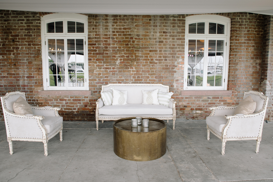 Gold reception at Charleston SC wedding at The Historic Rice Mill Building   //  A Lowcountry Wedding Magazine