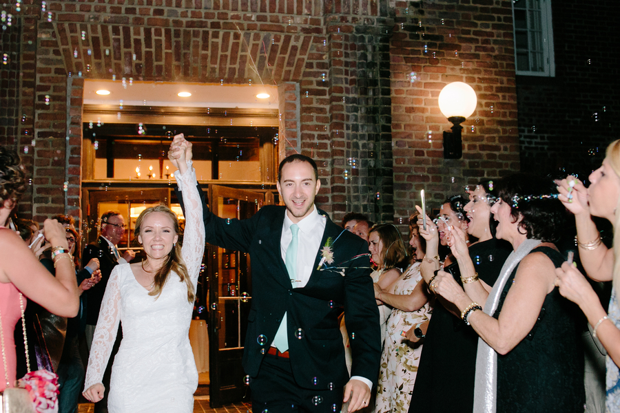 Wedding send-off at The Historic Rice Mill Building by Riverland Studios