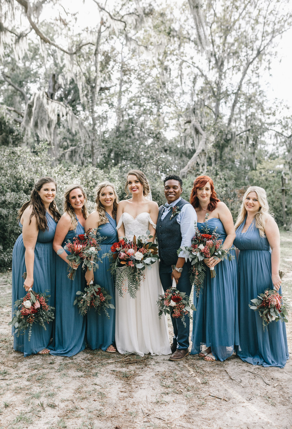 Savannah GA bride in a Sarah Seven gown and her bridesmaids  //  A Lowcountry Wedding Magazine