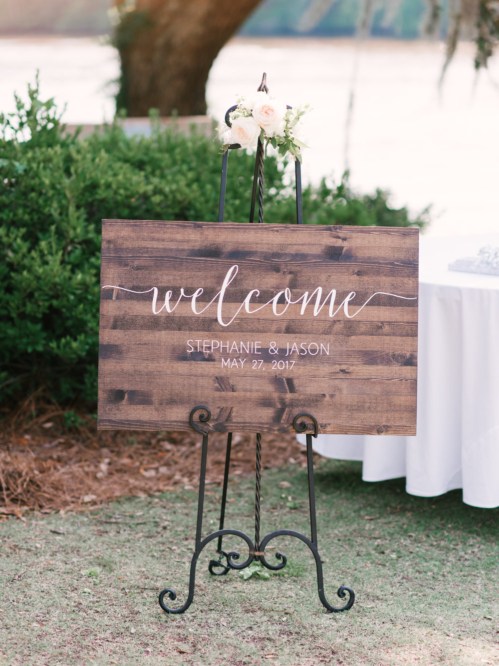 Hand-lettered wedding welcome sign at Myrtle Beach SC wedding