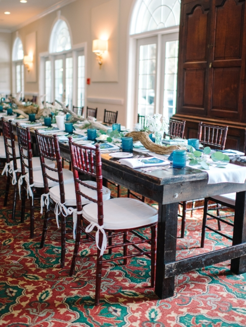 Coastal wedding reception decor at Wachesaw Plantation