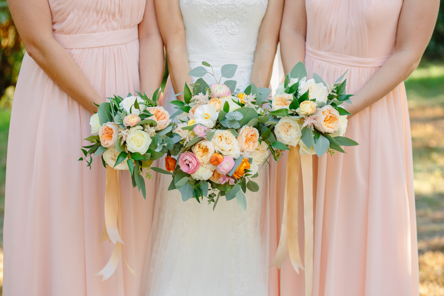 Peach bridesmaids dresses at Magnolia Plantation and Gardens wedding //  A Lowcountry Wedding Magazine