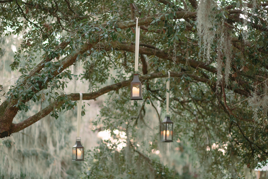Hanging lanterns for wedding in Charleston SC