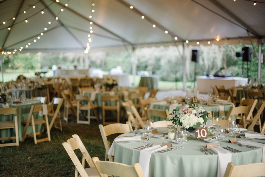 Sage green wedding decor for tented reception at Magnolia Plantation and Gardens