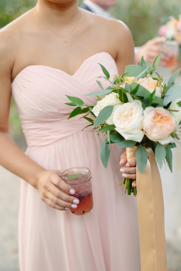 Peach Bridesmaids Dresses at Magnolia Plantation wedding
