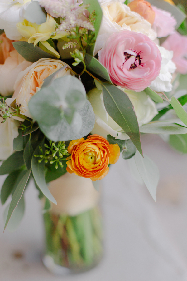 Colorful bouquet for Charleston wedding by Duvall Events