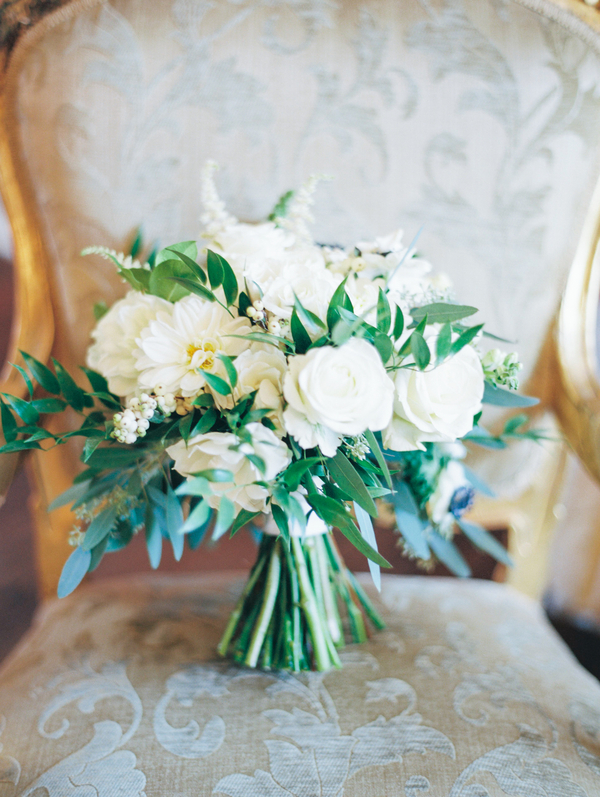 All-white garden bouquet by Ooh! Events at The William Aiken House
