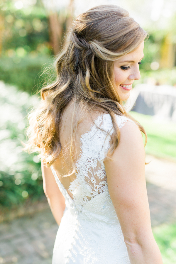 Bride in lace Modern Trousseau gown at The William Aiken House in Charleston SC