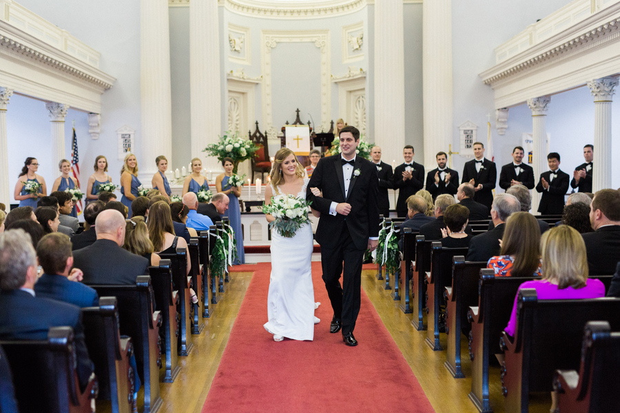 Traditional wedding ceremony at Trinity United Methodist in Charleston SC
