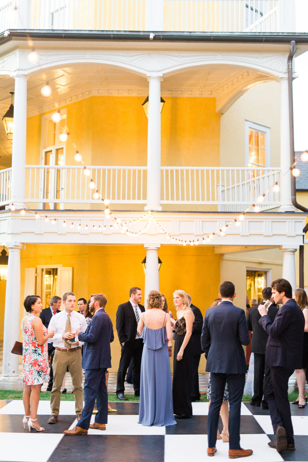 Open-air wedding reception at The William Aiken House in Charleston SC designed by Ooh! Events