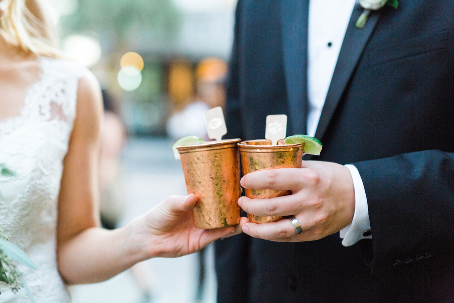 Charleston wedding specialty drink in julep cups