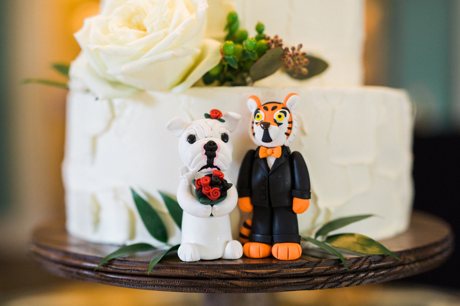 University of Georgia and Clemson Tiger mascots on Charleston wedding cake
