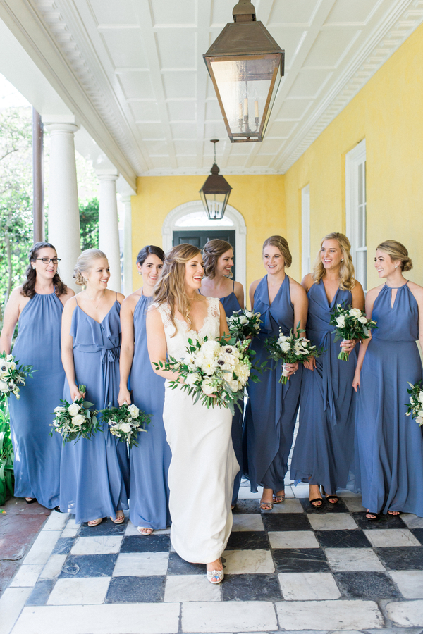 Charleston Bride in lace Modern Trousseau gown at The William Aiken House with her bridesmaids