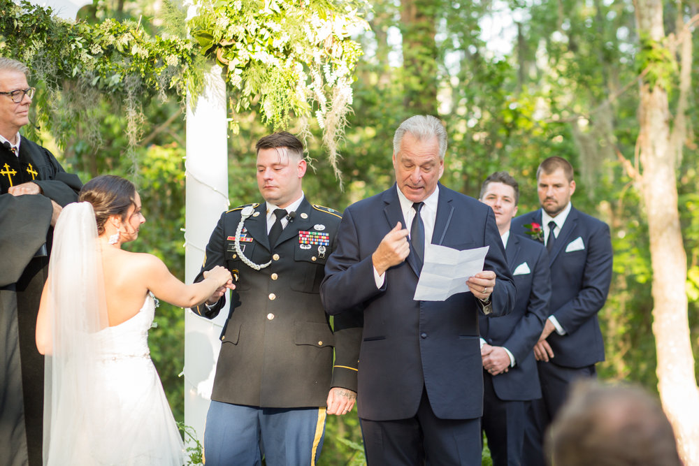 Outdoor wedding ceremony at The Mackey House in Savannah GA