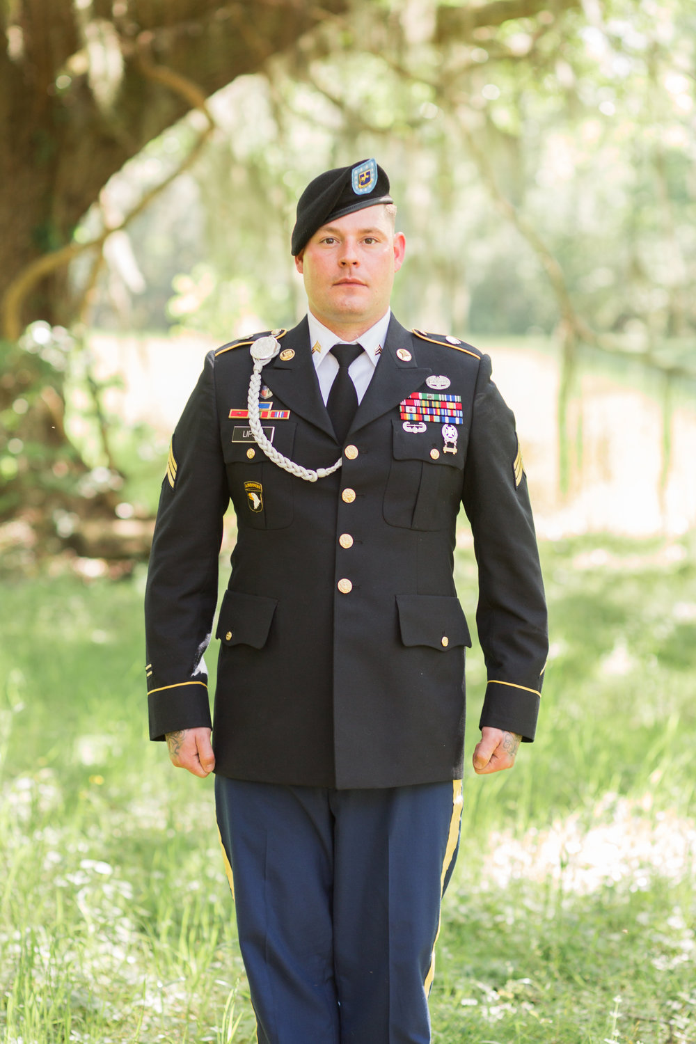 Bronze star recipient Adam Lipski in his military uniform for his Savannah GA wedding