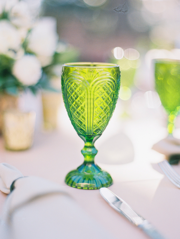 Green colored water goblets from Ooh! Events  //  Charleston wedding at The William Aiken House