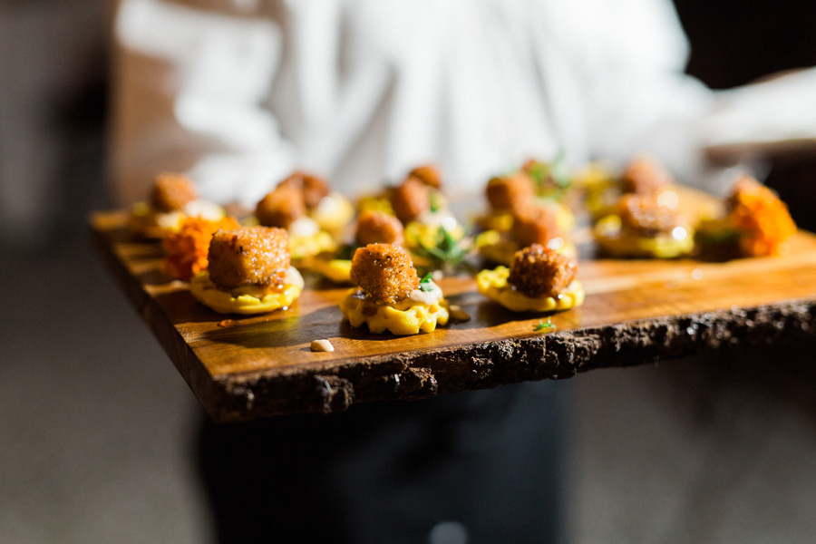 Chicken and waffle passed hors d'oeuvres by Patrick Properties at William Aiken House wedding