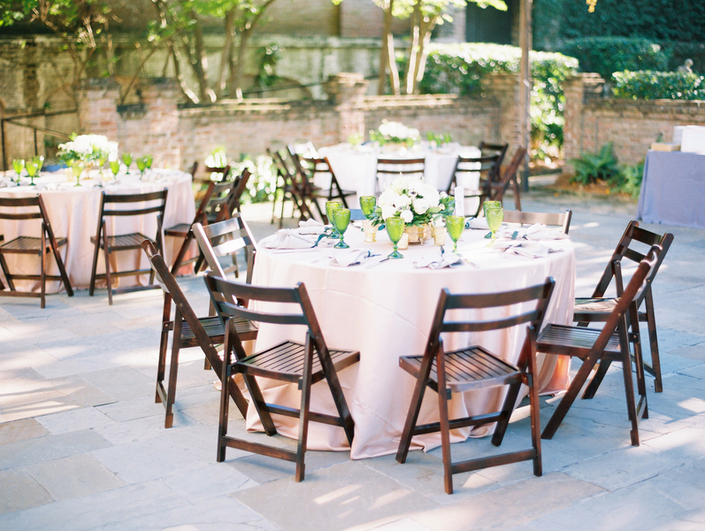 Open-air reception at William Aiken House wedding in Charleston SC designed by Ooh! Events
