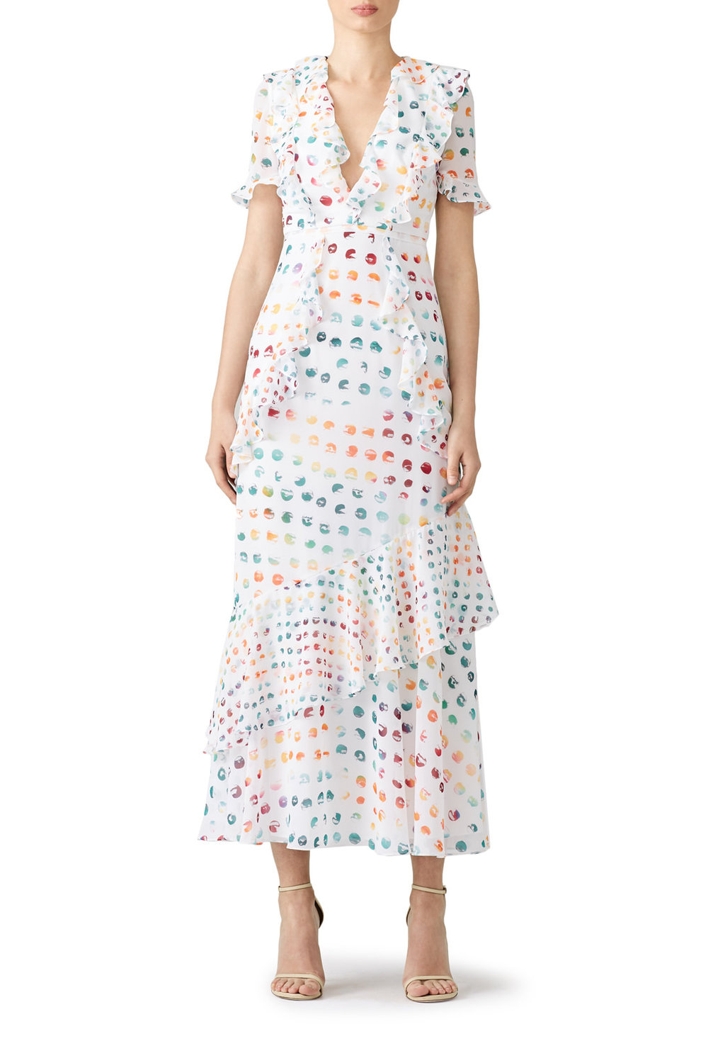 Monique Lhuillier Multi Polka Dot Maxi