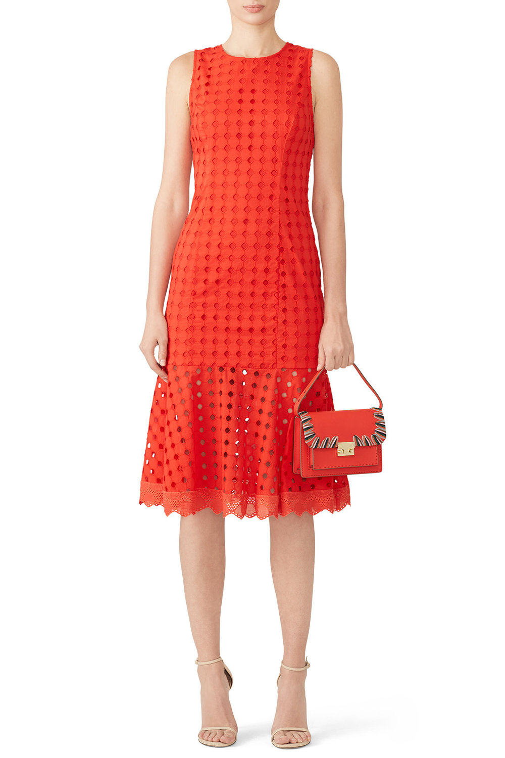 Donna Morgan Red Eyelet Flounce Dress