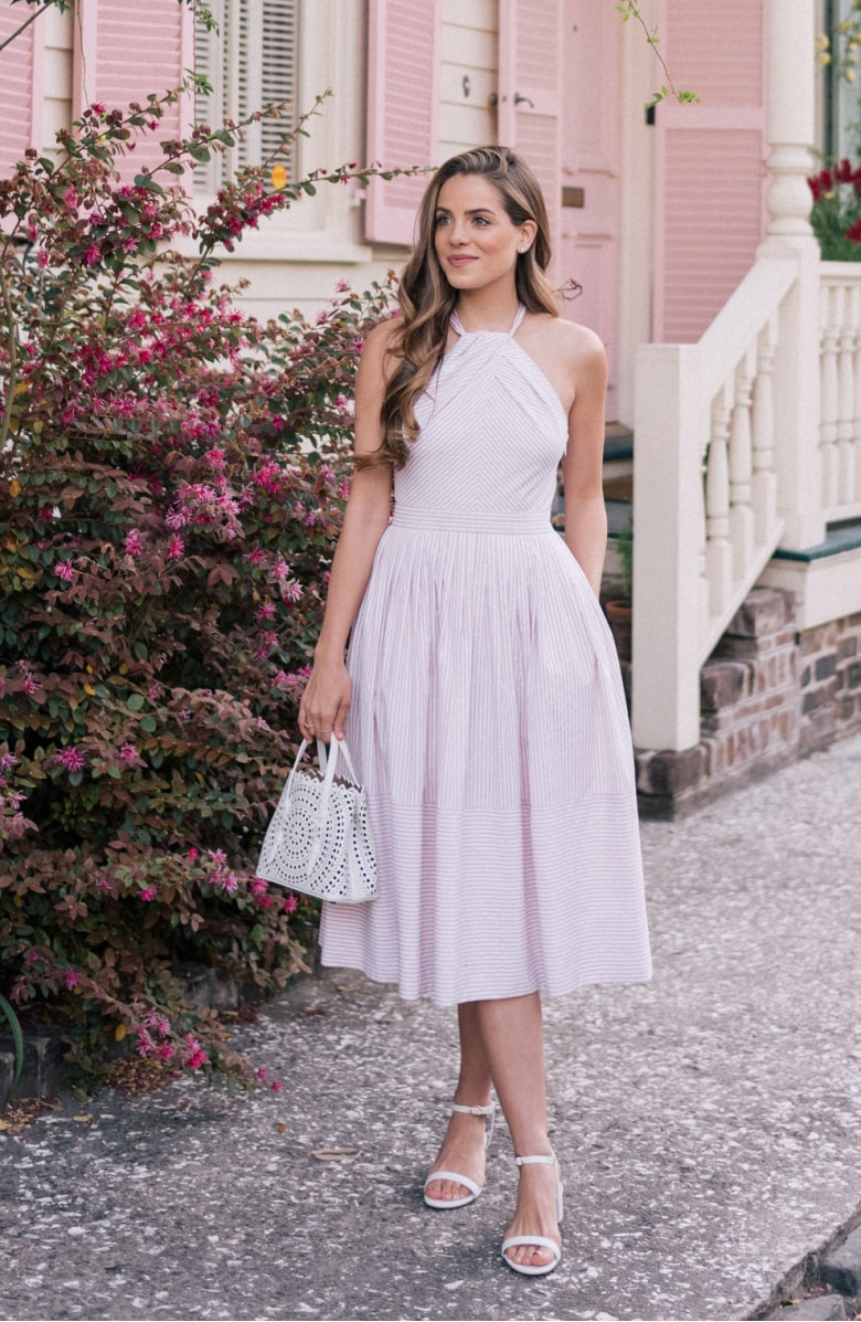 Claire Stripe Halter Dress