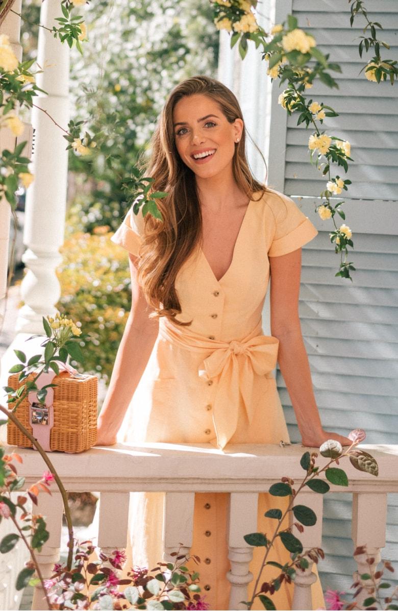 Vanessa Button Front Linen Blend Dress