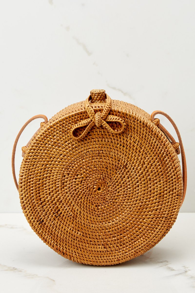 Brown Round Woven Purse