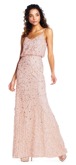 Adrianna Papell sequin beaded blouson gown with spaghetti straps -