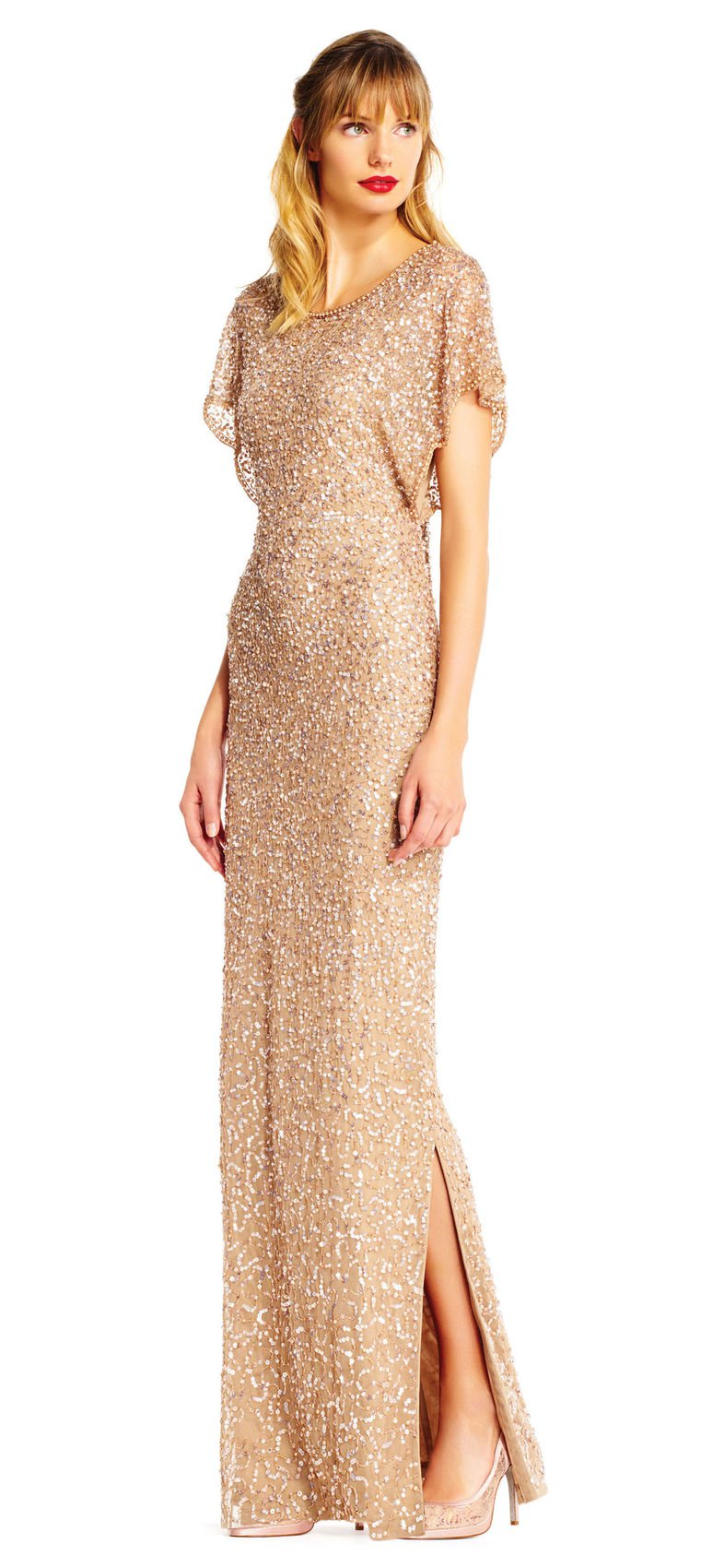 Adrianna Papell Sequin Beaded Gown with Flutter Sleeves - $172.99