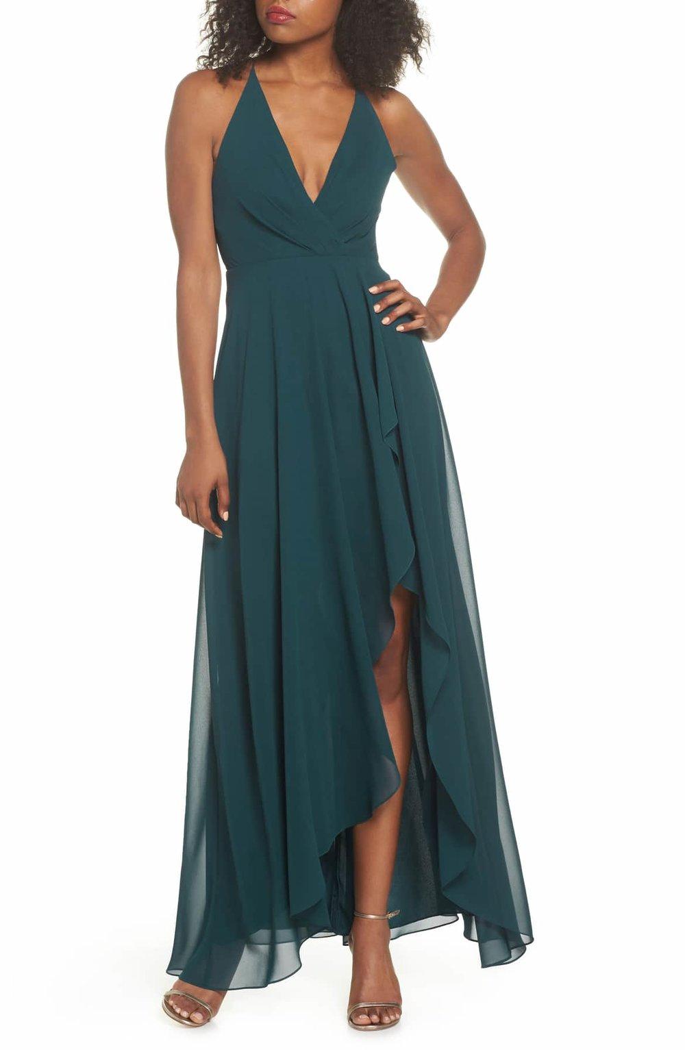 jenny yoo Farrah Ruffle Skirt Chiffon Gown - $275.00