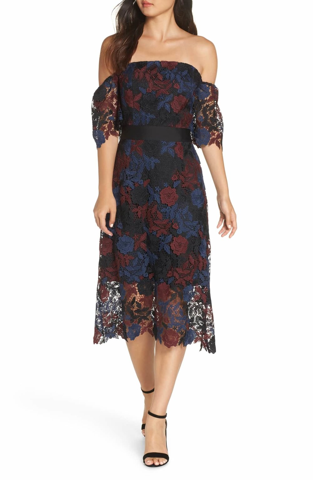Sam Edelman Three-toned Off the Shoulder Lace Midi Dress - $158.00