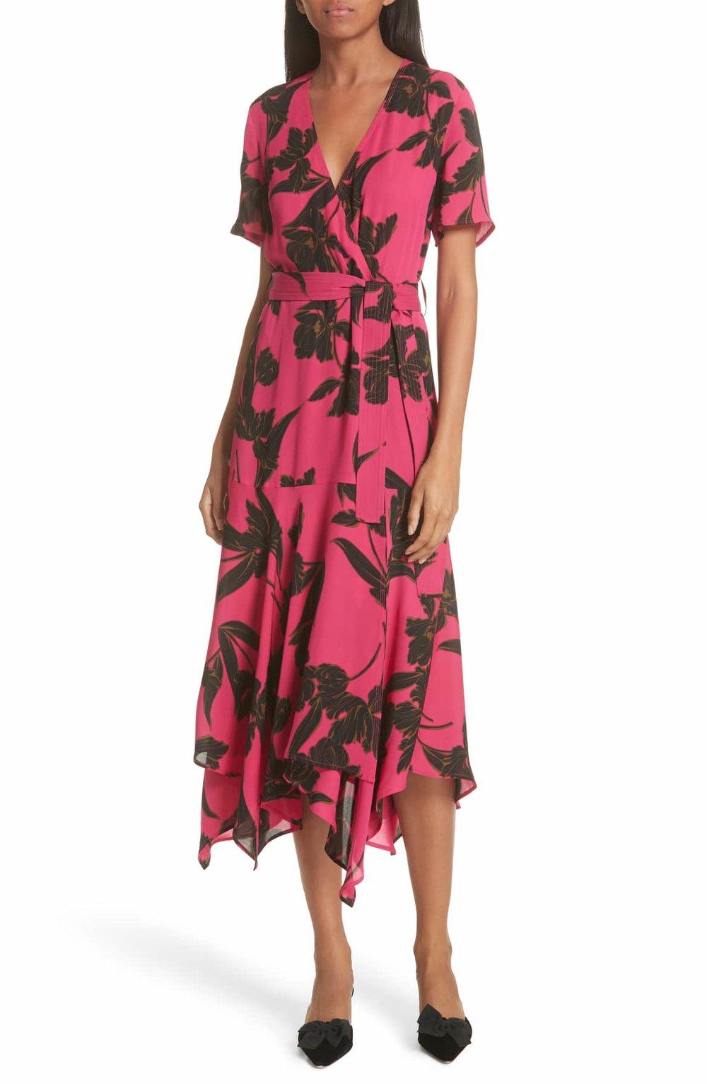 A.L.C. Cora Print Silk Midi Wrap Dress - $595.00