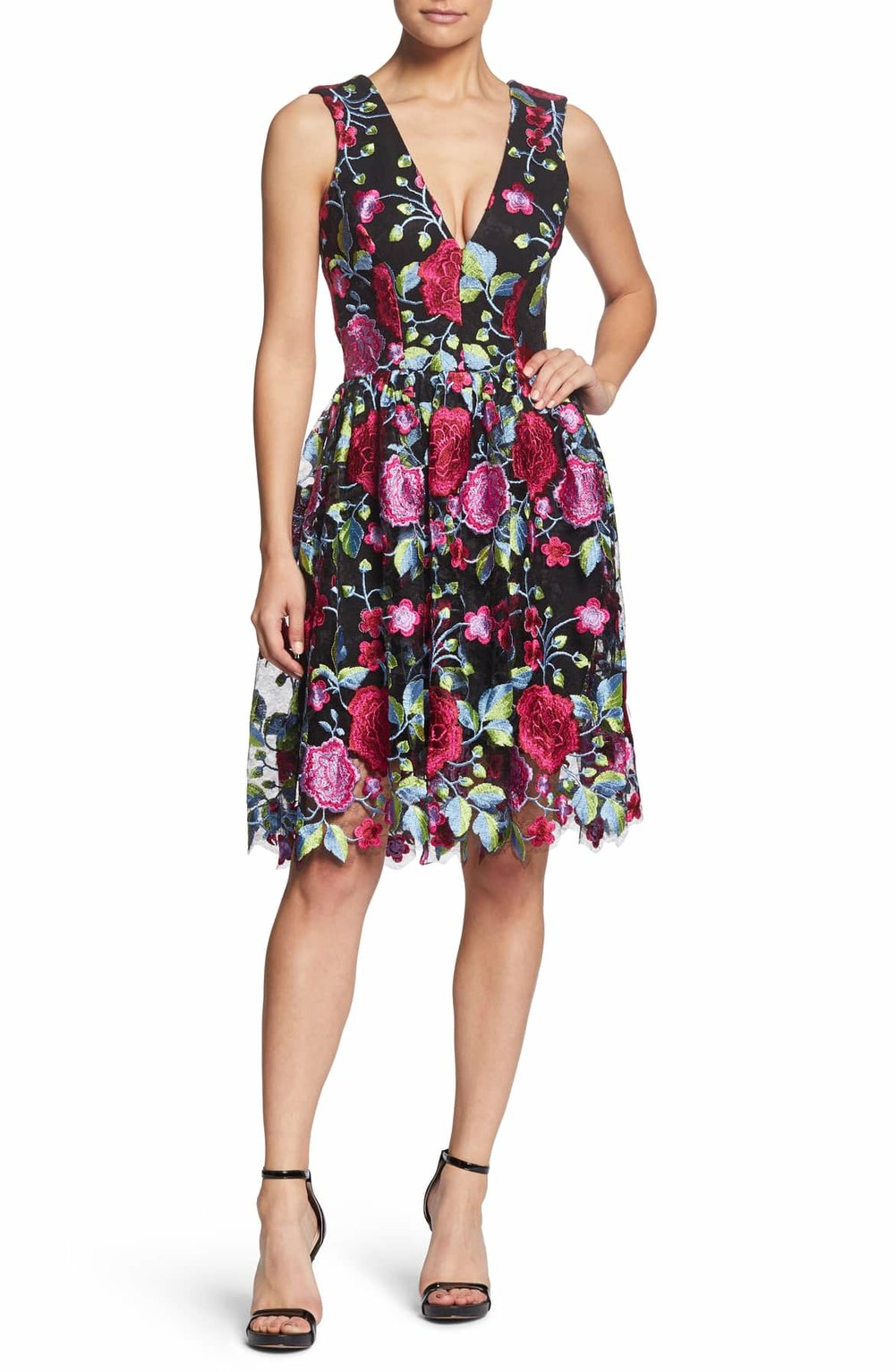 Dress the Population Rita Plunge Neck Lace Dress - $254.00