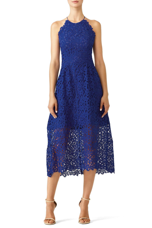 Slate & Willow Cobalt Lace Midi Dress - $40.00-$50.00