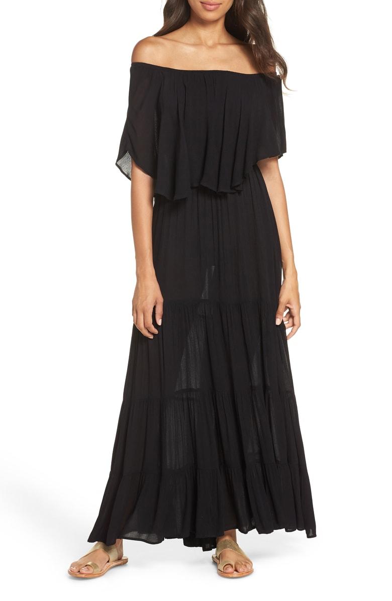 ELAN Off the Shoulder Ruffle Cover-Up Maxi Dress