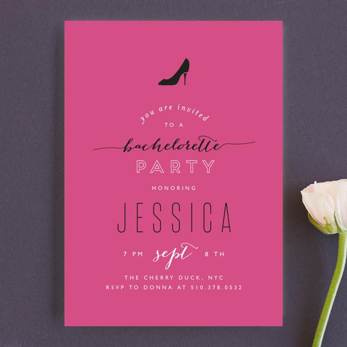 Golden Slipper Bachelorette Party Invitation