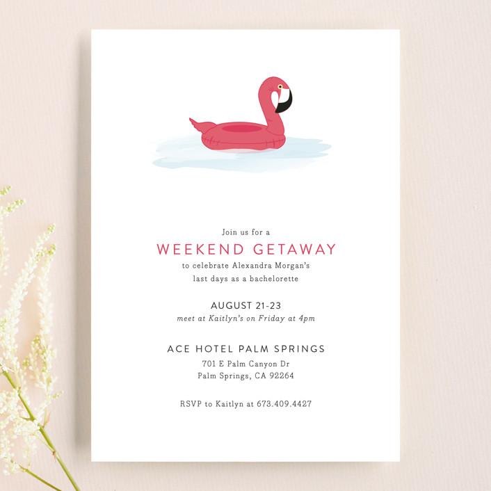 Flamingo Float Bachelorette Invitation