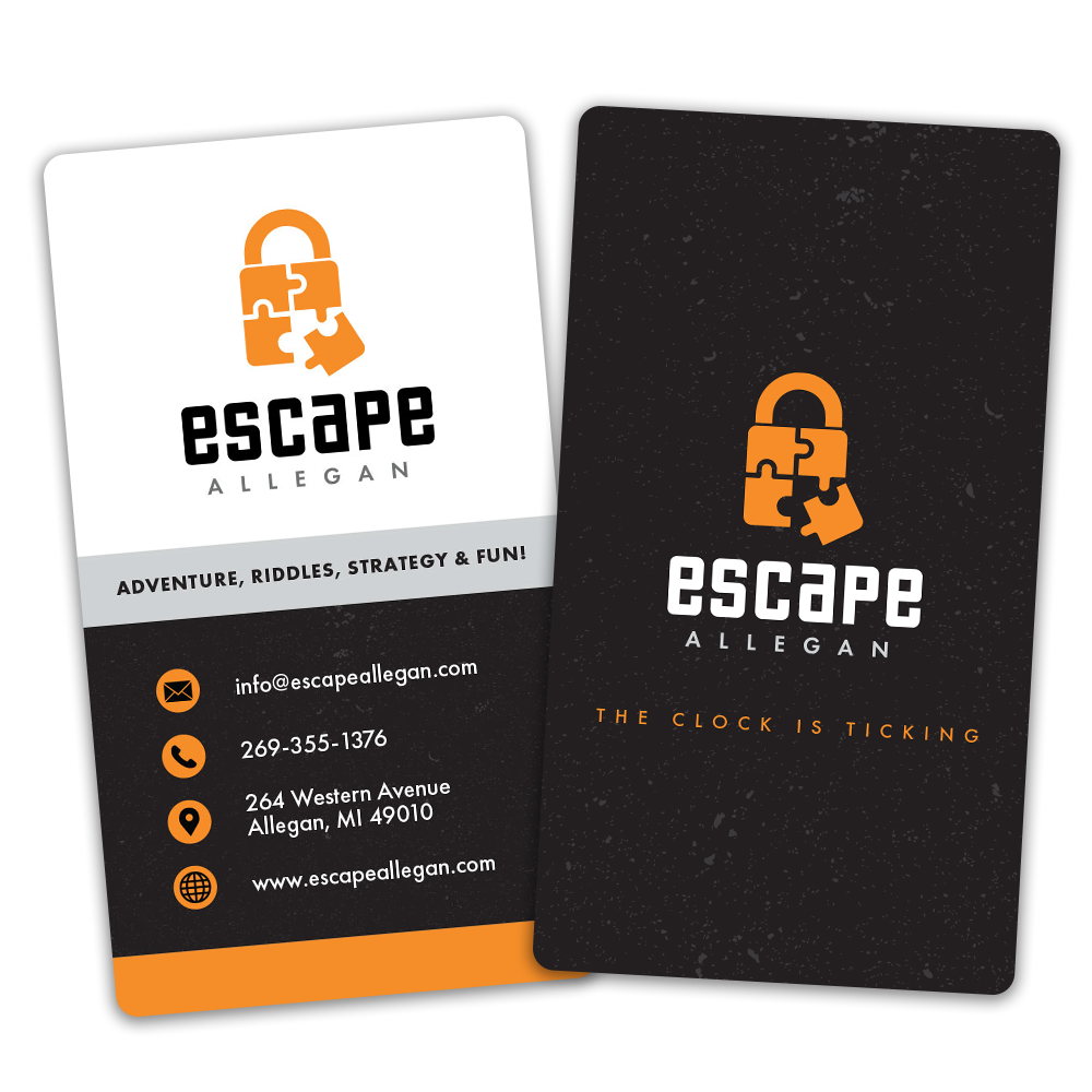 Escape Allegan Vertical Business Cards