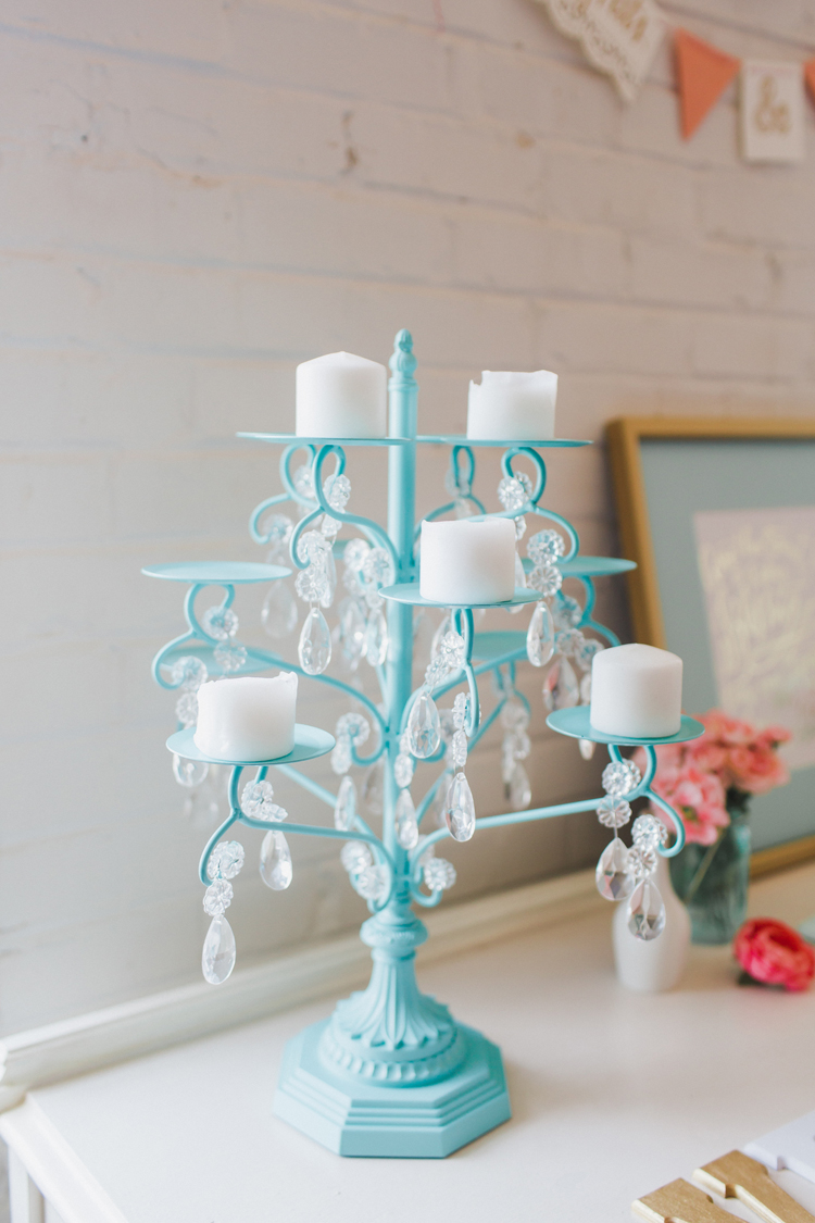 This candelabra was used on our sweet heart table at our wedding and now sits on and end table in our living room