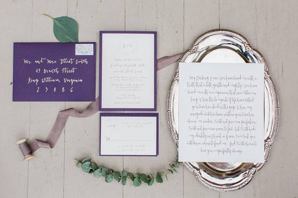 Plum Wedding Invitation Suite
