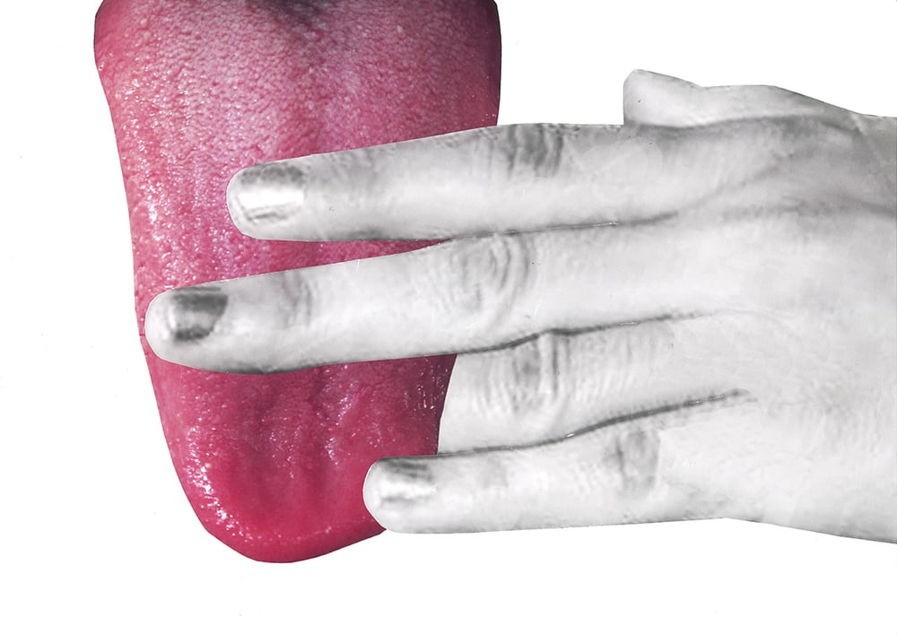 Eleni Bagaki, Tongue and Hand, 2015, giclee print on archive paper, courtesy of the artist and NEW STUDIO