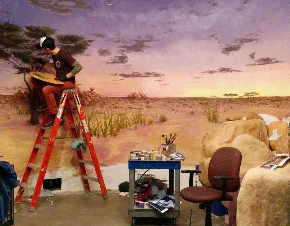 woking on the hyena diorama.jpg