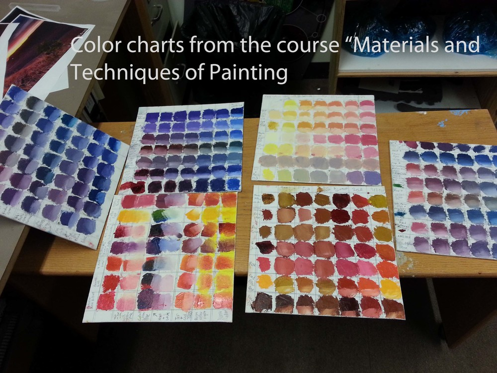 Color Charts from a class that focused on learning the material of paint, mixing color.