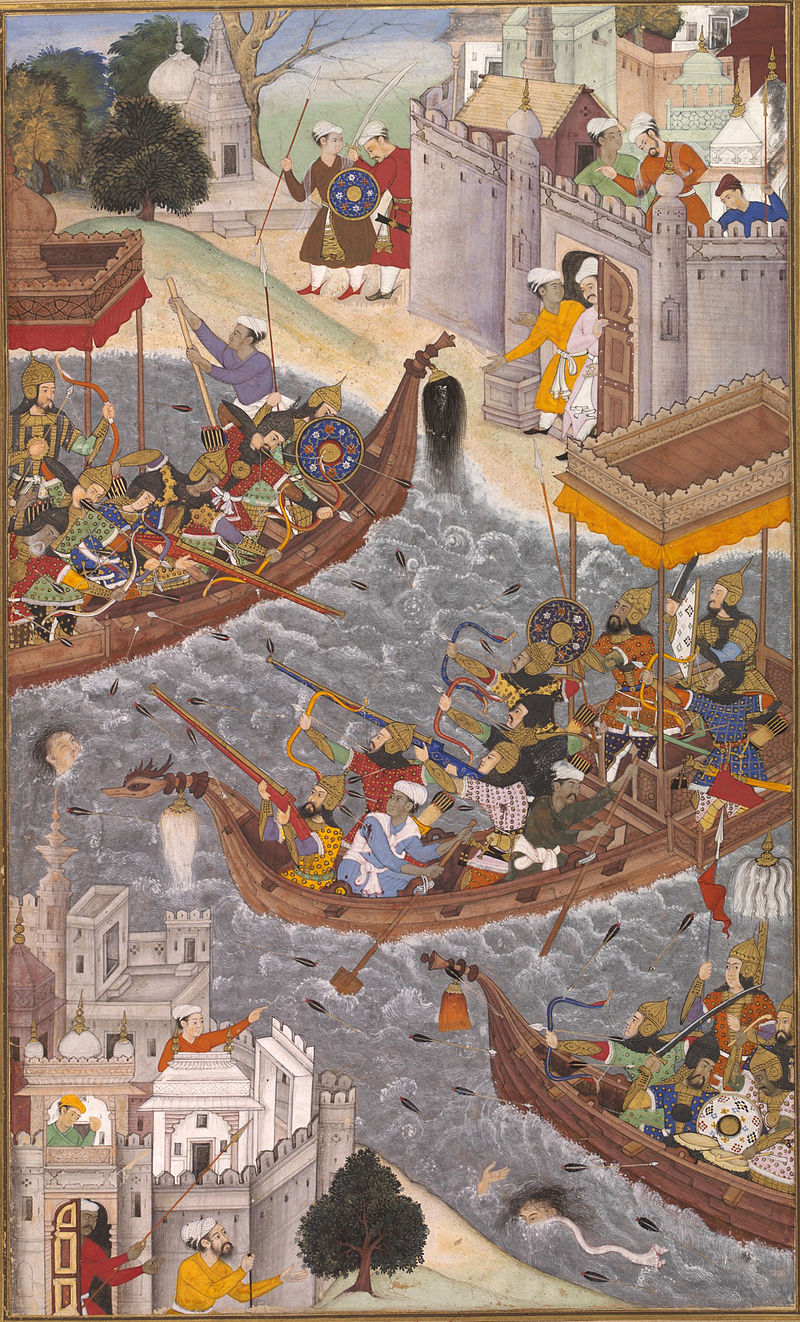 800px-1565-Battle_Scene_with_Boats_on_the_Ganges-Akbarnama.jpg