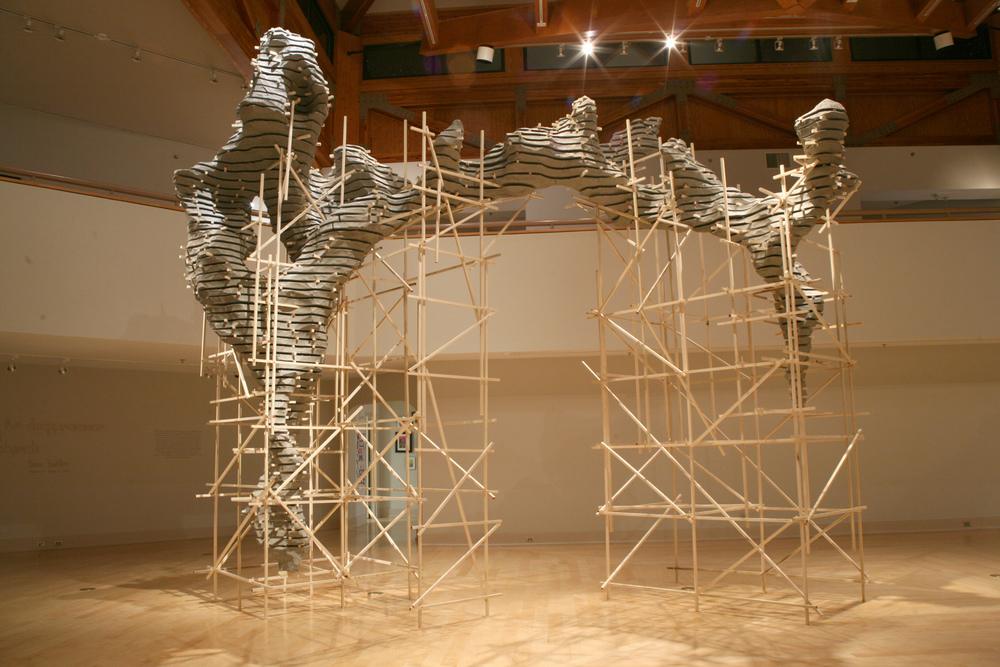 Elegy to the Disappearance of Objects, 2015, polystyrene, poplar, paint, approx. 19' x 35'x 45' Site-specific installation, Turchin Center for Visual Arts, Boone, NC